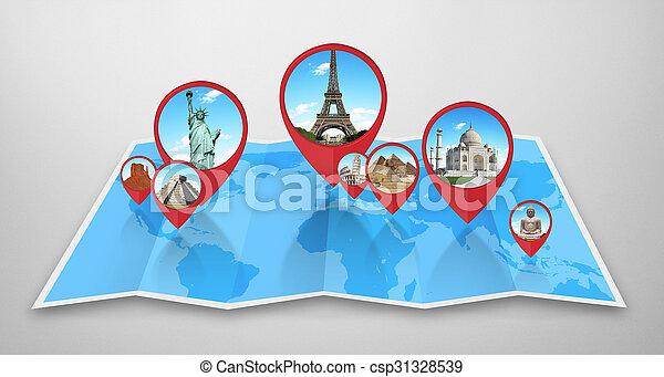 Monumentos del mundo en un mapa - csp31328539