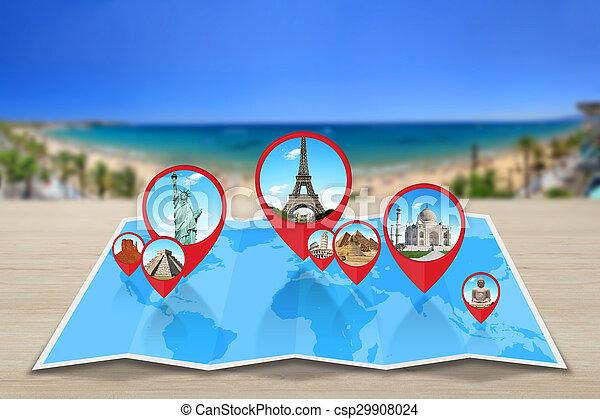 Monumentos del mundo en un mapa - csp29908024