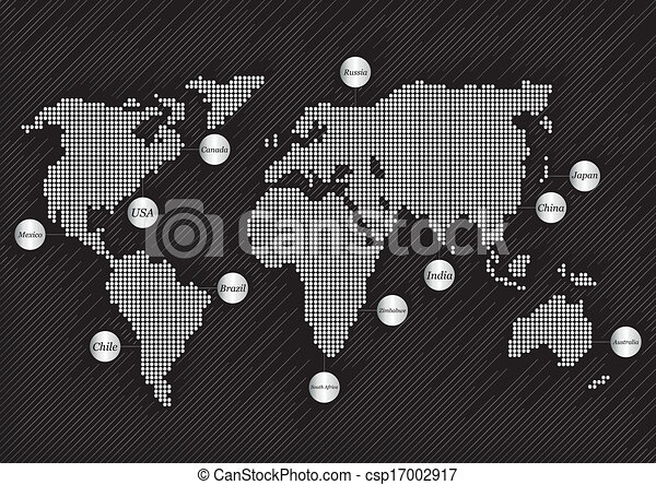mapa, mundo, plano de fondo, países - csp17002917