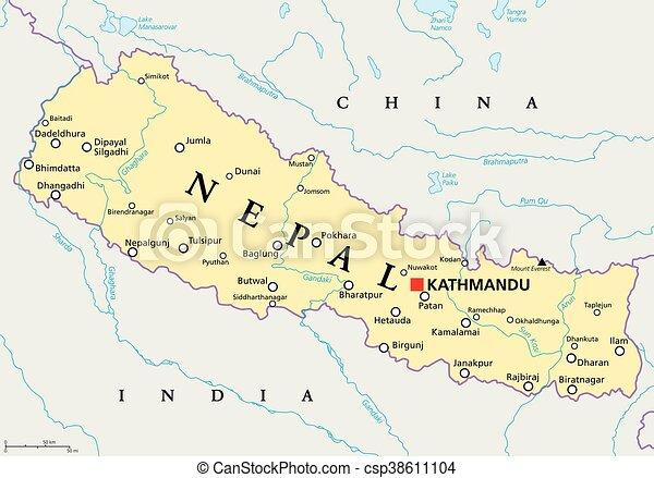 Mapa política de Nepal - csp38611104