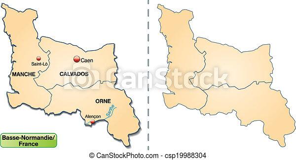 mapa, niższy, normandy - csp19988304