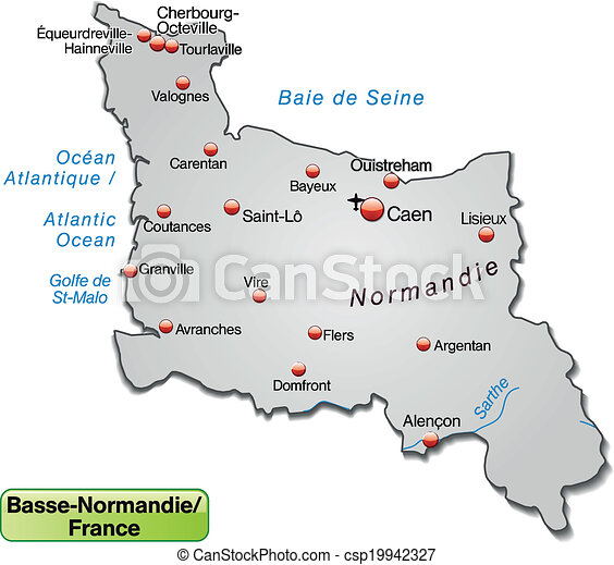 mapa, niższy, normandy - csp19942327