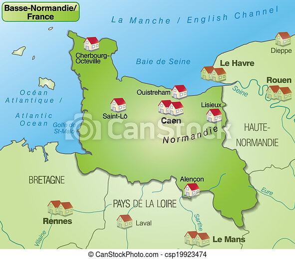 mapa, niższy, normandy - csp19923474