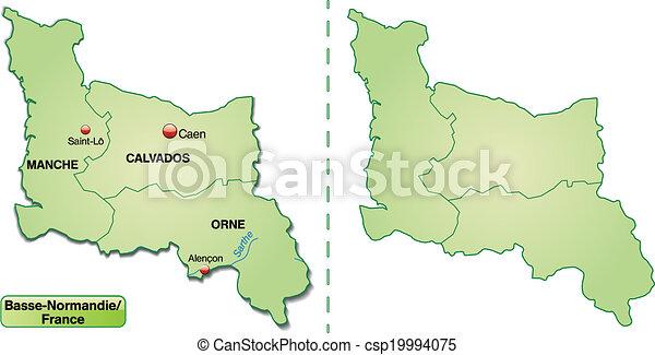mapa, niższy, normandy - csp19994075