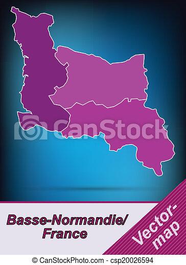 mapa, niższy, normandy - csp20026594