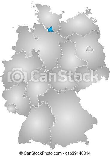 Mapa Niemcy Hamburg Mapa Nachylenie Zakresy Promieniowy