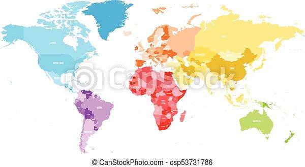 Mapa Politico Del Mundo Con Nombres.Un Colorido Mapa Politico Del Mundo Dividido En Seis