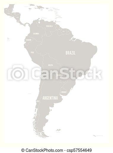 Mapa America Del Sur Con Nombres.Mapa Nombre Plano Simple Pais Etiquetas Politico Gris