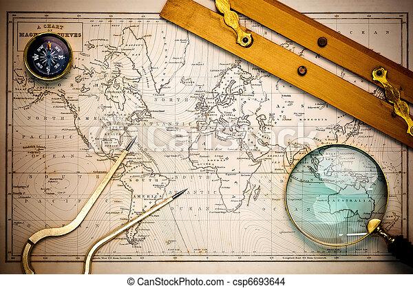 mapa, objects., stary, nawigacyjny - csp6693644