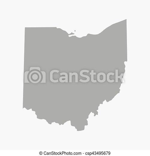 Mapa el estado de Ohio de gris en un fondo blanco - csp43495679