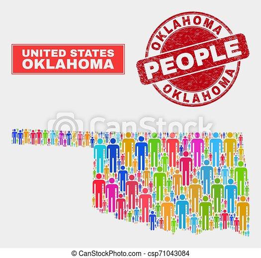 La población de mapas de Oklahoma demografía y sellos sucios - csp71043084
