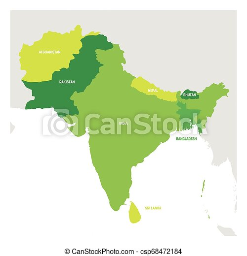Región de Asia del Sur. Mapa de países en el sur de Asia. Ilustración de vectores - csp68472184