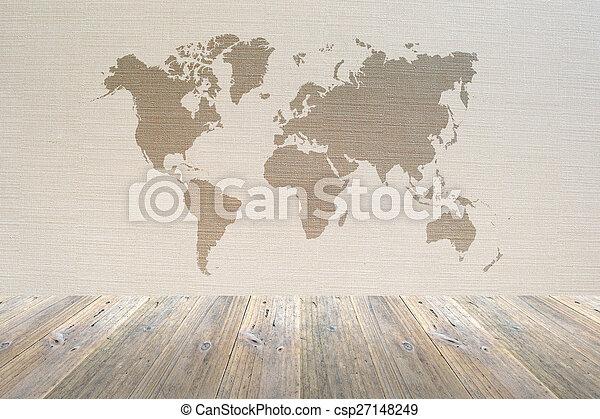 Mapa Papel Pintado Madera Terraza Interior Mundo