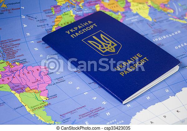 mapa, passaporte, mundo - csp33423035