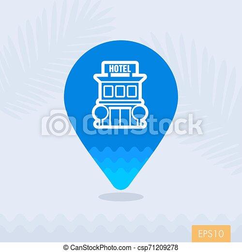 El icono del mapa del hotel. Summer. Vacaciones - csp71209278