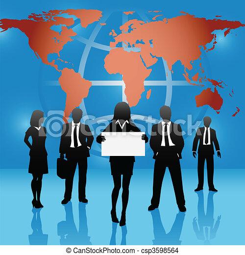 mapa, pessoas negócio, global, sinal, equipe, mundo, ter - csp3598564