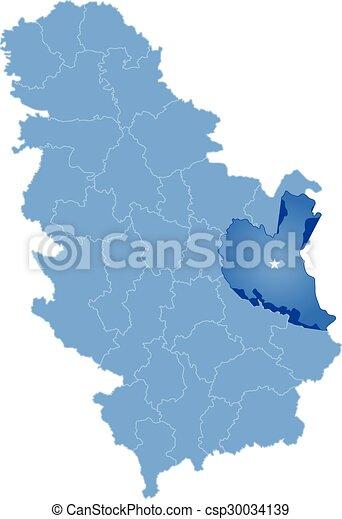Mapa Poddzial Serbia Okreg Zajecar Mapa Poddzial Okreg