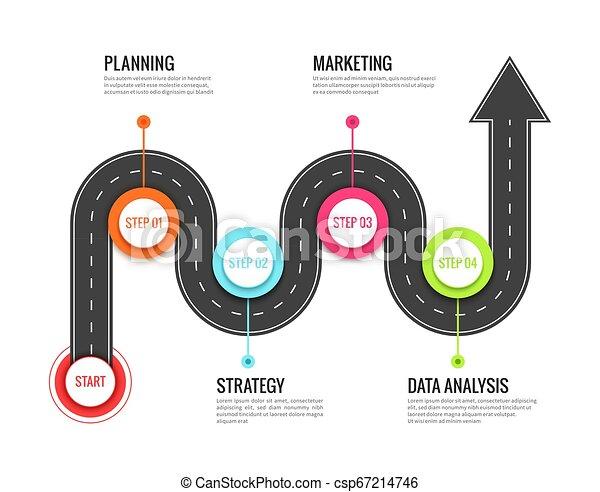 mapa, pojęcie, success., kierunkowy, infographic., droga, meandrowy, wektor, droga, ścieżka, podróż, podróż, podróż - csp67214746
