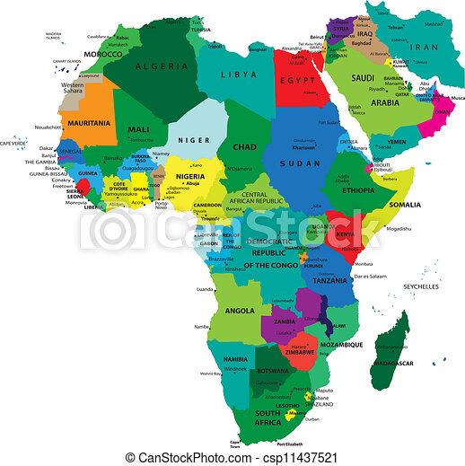 mapa, político, áfrica - csp11437521