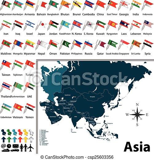Mapa política de Asia - csp25603356