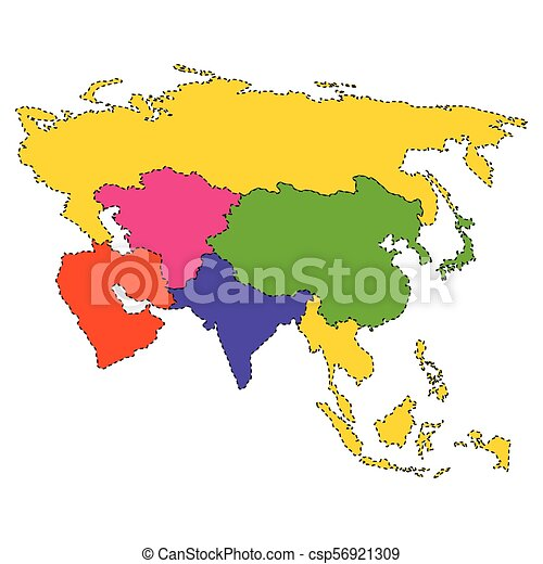 Mapa Político De Asia.Mapa Politica De Asia Diseno De Ilustracion De Vectores