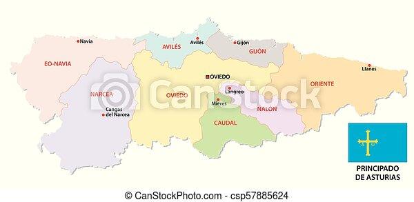 Mapa Politico De Asturias.Asturias Mapa Administrativo Y Politico Vectorial Con Bandera