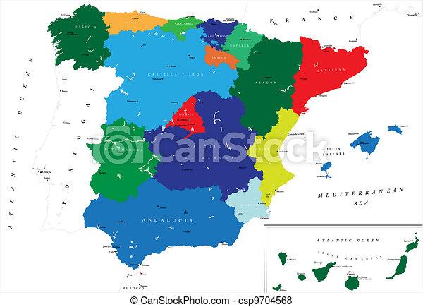 Un mapa político de España - csp9704568