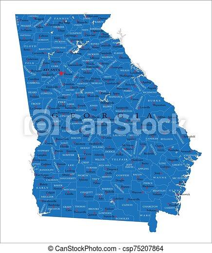 mapa, político, estado, georgia - csp75207864