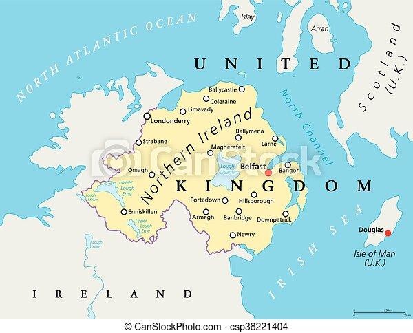 Mapa Irlanda Del Norte.Mapa Politica Del Norte De Irlanda El Mapa Politico De