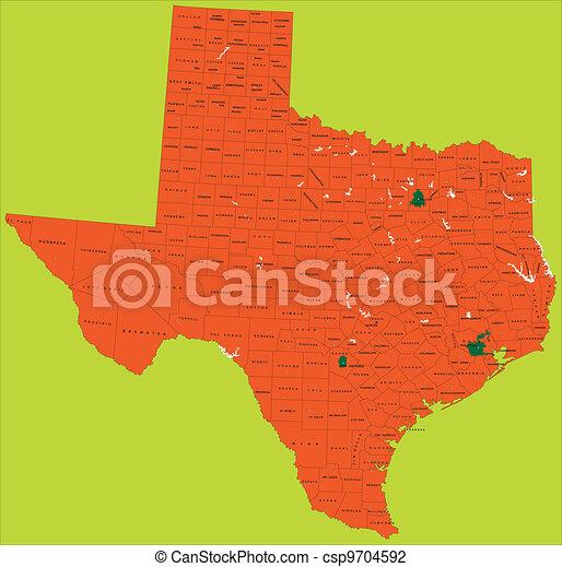 Un mapa político de Texas - csp9704592