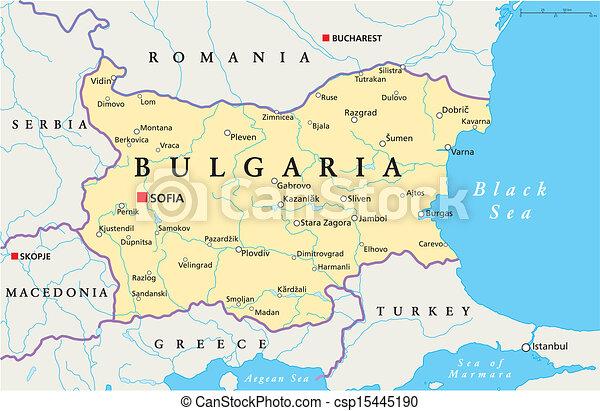 Mapa Polityczny Bulgaria Sofia Mapa Brzegi Narodowy Kapital