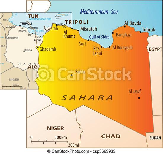 Mapa Polityczny Libia Mapa Wektor Polityczny Ilustracja Libia