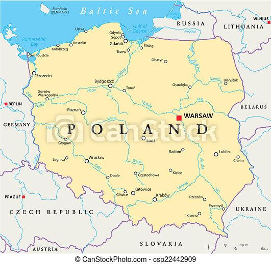 Mapa Polska Polityczny Warszawa Mapa Scaling Illustration