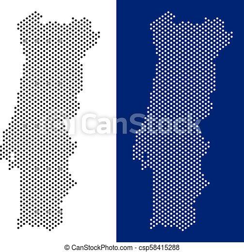 Mapa Pontilhado Portugal Azul Mapa Portugal Criado Branca