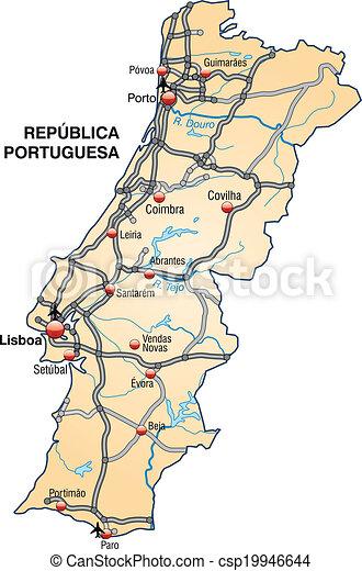 Mapa De Carreteras Portugal.Mapa Portugal Carreteras Mapa Naranja Portugal Pastel
