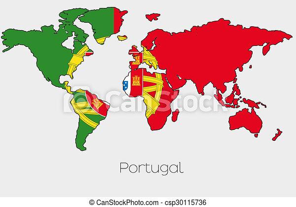 Mapa Portugal Pais Dentro Bandeira Ilustracao Forma Mundo
