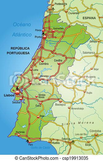 Mapa De Portugal Con Autopistas