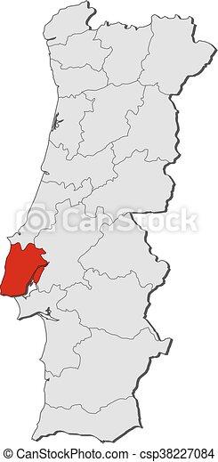 Mapa Portugalsko Lisabon Mapa Highlighted Lisabon