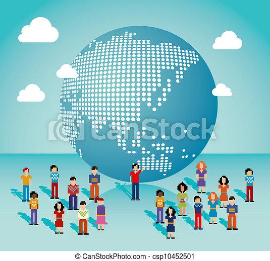 Red de redes sociales globales en el mapa asiático - csp10452501