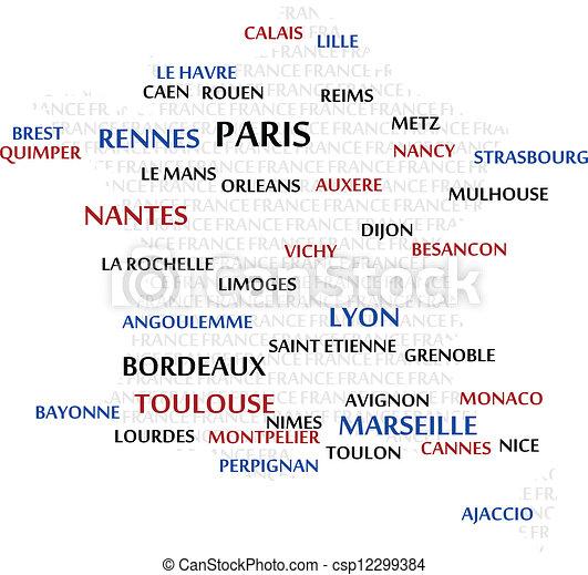 mapa, słowo, chmura, francja - csp12299384