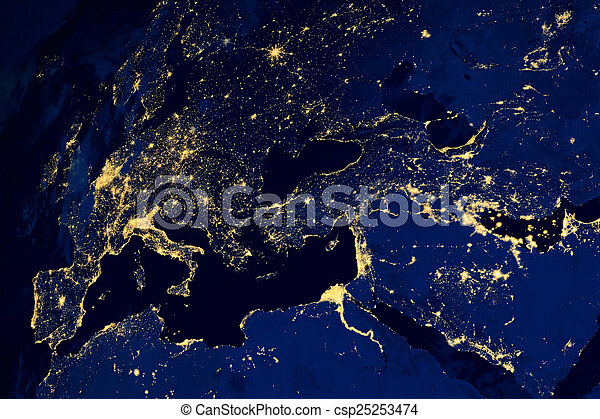 El mapa satelital de la noche de las ciudades europeas - csp25253474