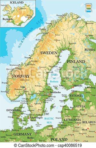 Mapa escandinavia-física - csp40086519