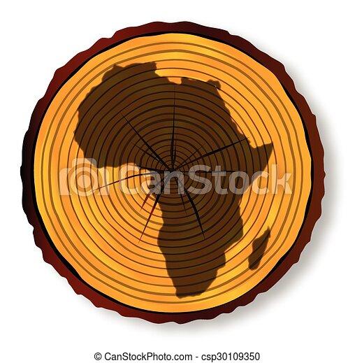 mapa, seção, áfrica, madeira - csp30109350
