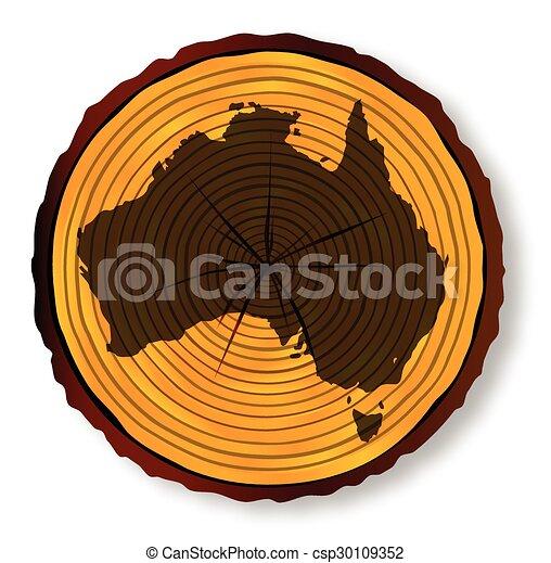 mapa, seção, austrália, madeira - csp30109352