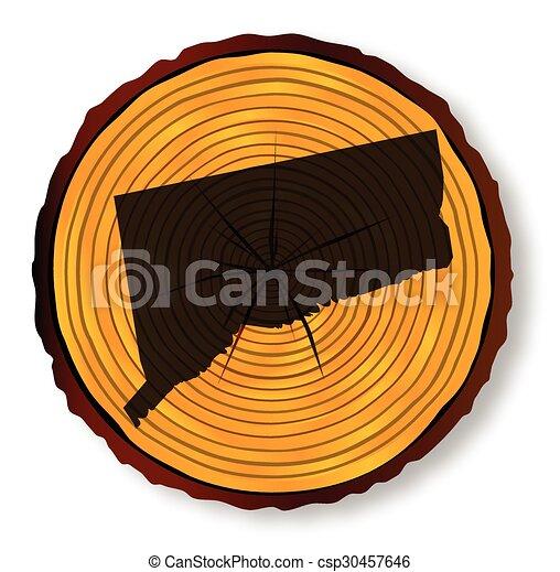mapa, seção, fim, connecticut, madeira - csp30457646