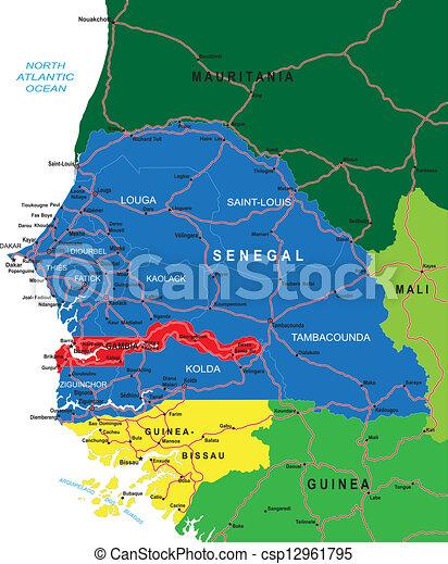 Mapa Senegal Mapa Vectorial Muy Detallada De Senegal Con Regiones