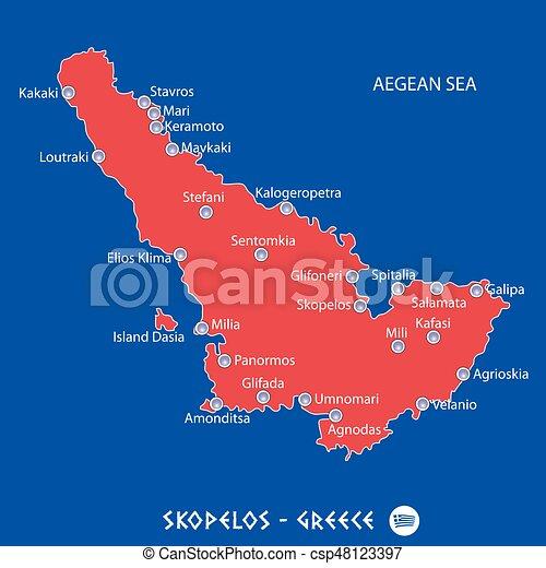 Mapa Skopelos Ilha Ilustracao Grecia Vermelho Mapa