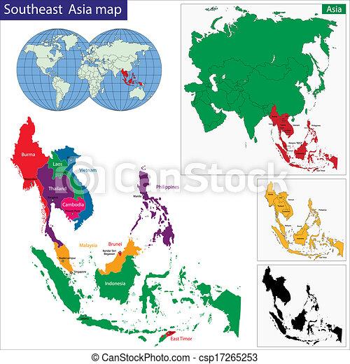 mapa, sudeste, ásia - csp17265253