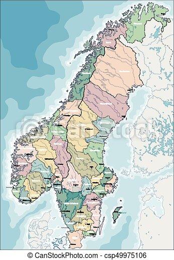 Mapa de Noruega y Suecia - csp49975106