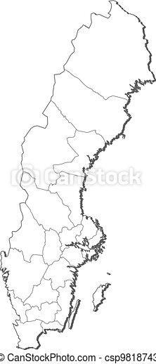 Mapa Politico De Suecia.Mapa Suecia Varios Politico Provinces